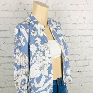 JAASE Blue & White Floral Cropped Zip Up Jacket XS